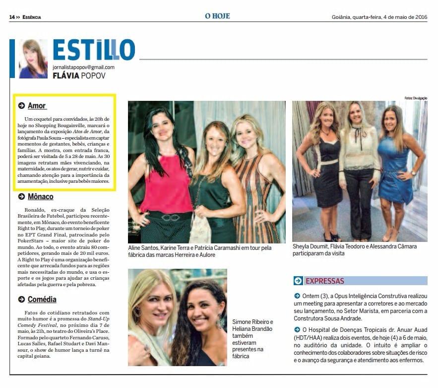 O Hoje, Paula Souza, Newborn, gestante, Goiania, Brasilia, Anapolis, Exposicao fotografica das maes - 1